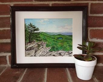 Black Rock Cliffs, Maryland - Appalachian Trail Watercolor Painting - Original Mountain Landscape Artwork - Affordable Framed Art