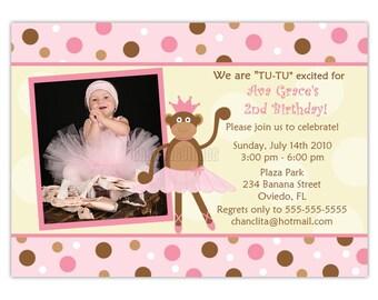 Ballerina Monkey Birthday Photo Card