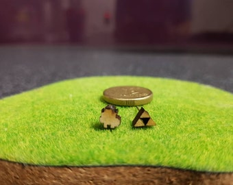 Tiny Link and Triforce stud earrings- natural wood