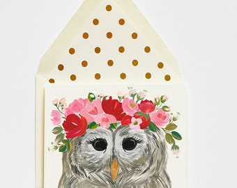 Lady Owl Floral Card by The First Snow