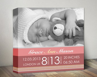 Newborn canvas gift baby birth announcement canvas baby baby birth announcement canvas baby birth stats nursery wall decor new baby wall art negle Gallery