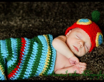 Crochet Blue Green Red Yellow Colorful Caterpillar Hat Cocoon Newborn Infant Photography Prop