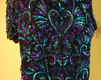 Gorgeous Laurence Kazar sequined top in blues, purples; mint condition; size medium