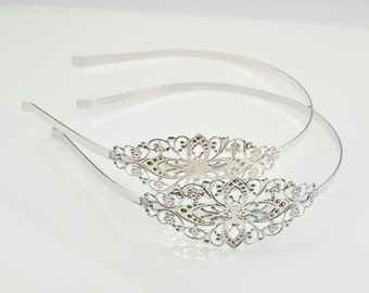 Silver Filigree Headband 8pcs