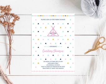 Tribal Baby Shower Invitation Girl, modern cute arrow baby shower girl invite printable, geometric minimalist indian aztec, INSTANT DOWNLOAD