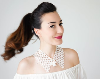 Peter Pan Collar Lace Collar White Collar Vintage Collar Tassel Necklace Gift For Her Sister Gift Bridal Collar Birthday Gift/ SILLA