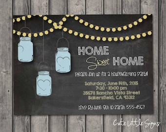 Home Sweet Home House Warming Party Chalkboard Invitation, Mason Jar String Lights Party Invite Digital Download