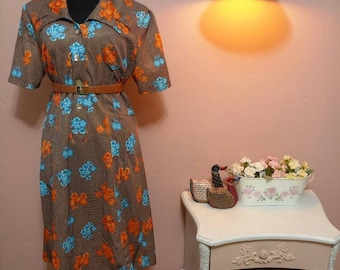 1950 Vintage Dress.50's Dress.Vintage Women's dress.Brown, Blue&Orange Floral Print Vintage Dress For Women 1950s.Size L-XL