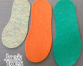 New! VEGAN FELT Baby Soles -  Thick Felt Soles for Bootees, Slippers and Socks all made in England by Joe's Toes