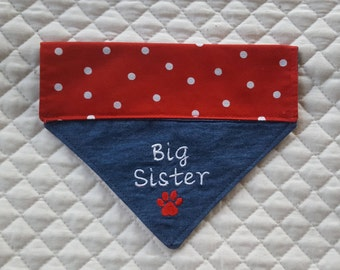 Dog Bandana Big Sister, Red and white, Baby Announcement, Baby Shower Gift, Over Collar Bandana, Dog, Cat, New Baby, Dog Accessories