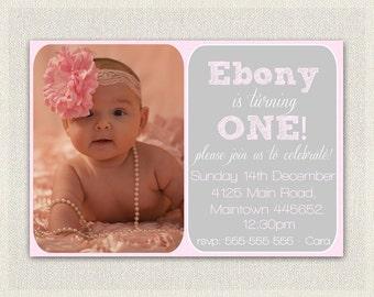 Pink Girls 1st Birthday Invitation / Printable Download /  First Birthday Invitation Invites /  Baby Pink Simple Photo Invitation (36)