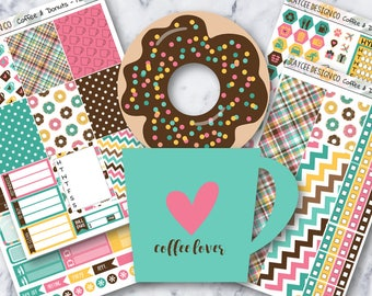 MINI Weekly Kit / Coffee & Donuts / Planner Stickers /  Fits Erin Condren Vertical and MAMBI