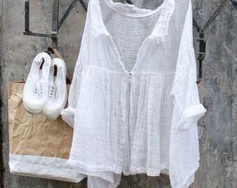 Abella Gauze Linen Jacket White