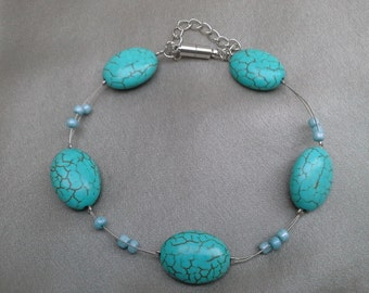 Turquoise Bracelet: Beautifully Marbled Oval Beads