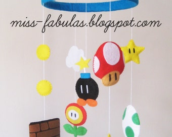 Super Mario BROS Decorative baby cot cradle Crib mobile felt mushroom Yoshi egg bomb flower-Super Mario Mobile Decorta Baby cot