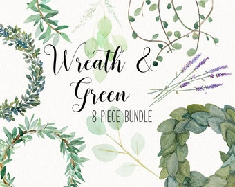 Greenery and wreath BUNDLE | eucalyptus, vines, magnolia, olive branch, foliage clip art -  INSTANT DOWNLOAD