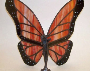 Stained Glass Monarch Butterfly Lady Figurine Fairy with Hand-Painted Details - Made to Order (MON004)