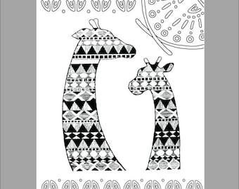 Patterned Giraffe Printable Coloring Sheet