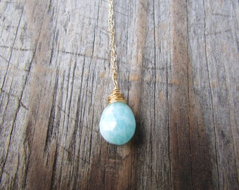 Amazonite Pendant, gold necklace with blue amazonite, wire wrapped