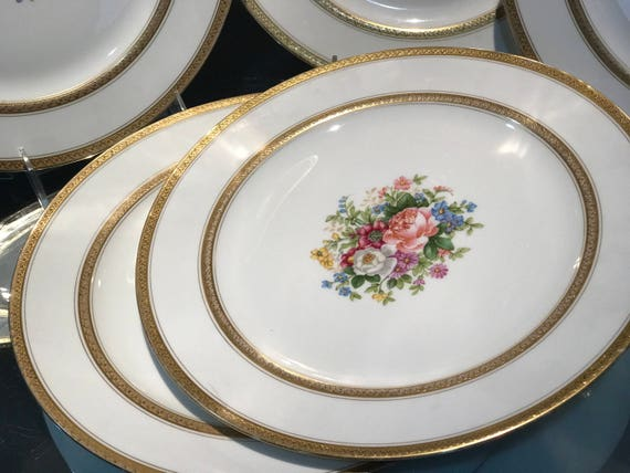 & Dinner Plates5 Limoges Plates Double Etched Gold Trim Hand