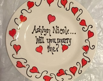 Marriage Proposal Plate - Handpainted Plate - Personalized Plate - Engagement Plate