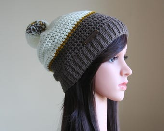 White and Chocolate Brown Slouchy beanie with Pompom