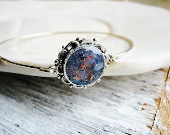 Opalescent Bangle Bracelet, Bangle, Resin Jewelry, Faux Stone, Geology Bracelet, Minimalist Bracelet, Stacking Bracelet, Stacking Bangle
