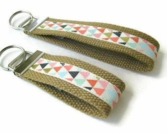 Coral Gold Arrow Key Fob Wristlet- Wrist Keychain- Key Lanyard for Women- Wristlet Key Chain-Womens Gift for Her-Gift for Women Under 10