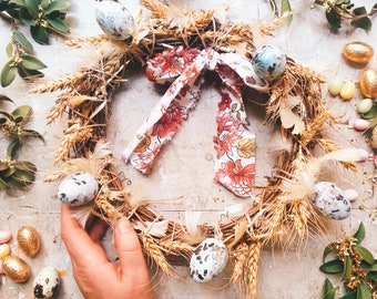 Crown decoration twigs branches Ribbon feathers ears of wheat, folk style wooden eggs & Easter, spring romantic spring fairy