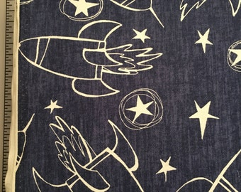 Spaceships by David Walker Jeans and Things Collection Cotton Fabric by the yard from shereesalchemy