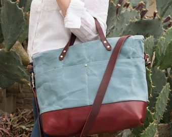 Waxed Canvas and Leather Tote - cerulean
