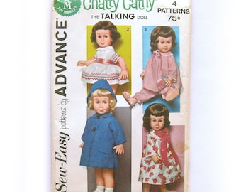 "Wardrobe for Chatty Cathy Doll - 20"" Dolls - School Dress, Party Dress, Play Clothes, Nightgown / Advance 2898 / UNCUT FF"