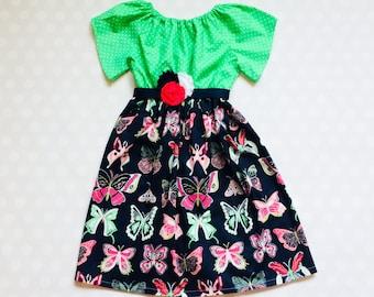 Green and Navy Butterfly Dress - Easter Dress - Girls Spring Dress - Girls Dress - Baby Girl Dress - Girls Dresses - Butterfly Dress