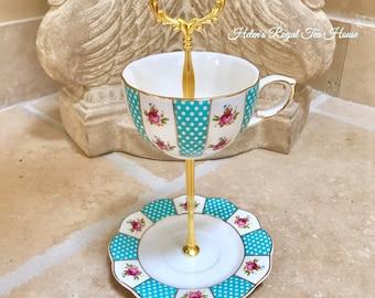 Aqua Teacup Tier for candy, nuts, jewelry, teabag holder, knick knacks, soaps, etc.