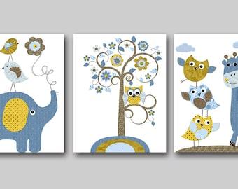 INSTANT DOWNLOAD Art Elephant Nursery Digital Print Baby Boy Nursery Decor Printable Wall Art Digital Download Art set of 3 8x10 11X14