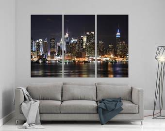 New York City skyline canvas print triptych