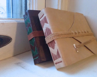 Wide Leather Bound Long Stitch Book