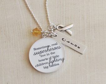 Quote Necklace Inspirational Necklace Childhood Cancer Pediatric Cancer Gift For Mom Custom Name Necklace Vertical Bar Necklace Mom Necklace