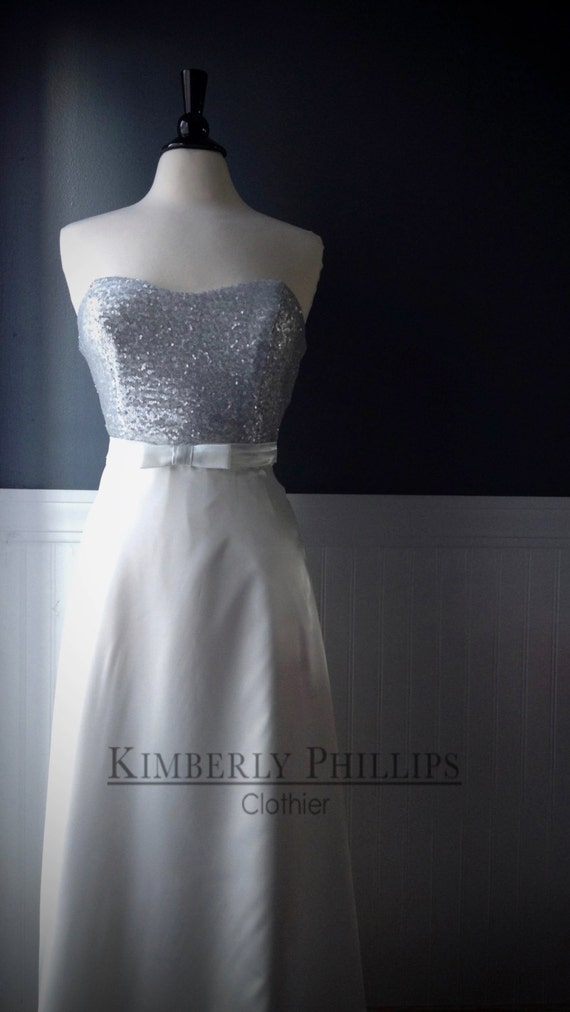 Simple Wedding Gown, Sequin Bodice and Satin Skirt- Reherasal Dress, Reception Dress