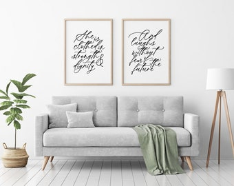 she is clothed in strength and dignity printable · proverbs 31:25 wall decor · living room wall art · calligraphy bible verse · home decor