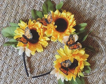Sunflowers with Butterfly Wire Mouse Ears