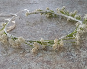 Bridal Floral halo Silk Babys Breath cream Flower Crown Ivory Wedding hair accessories  baby flower girl headband artificial wreath