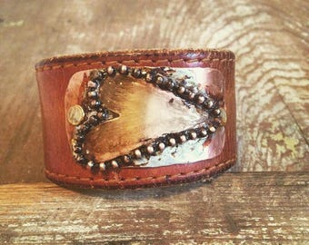 Artisan Heart Bracelet Cuff, Rustic Leather Cuff