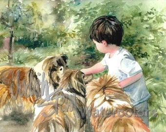 """Chinese Boy Feeding Cheerios to Pet Shetland Sheepdogs, Children Watercolor Painting Print, Wall Art, Home Decor, """"Cheerio"""" by Judith Stein"""