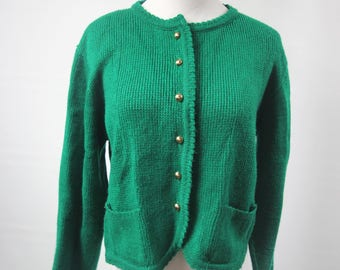 Vintage Emerald Green Women's Cardigan Small