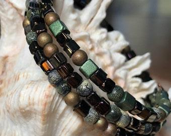 Memory Wire Beaded Wrap Bracelet