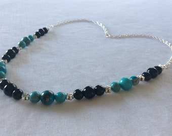 Dyed Imperial Jasper & Onyx Necklace