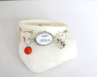 """""""super home"""" floral ivory floral bracelet, gift for a pre-school"""