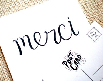 Set of 10 Thank You Postcard - Handmade Merci Thank You Postcards - Hand Lettered French Merci Thank You - Great for Weddings, All Occasions