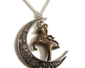 Unicorn necklace, unicorn jewelry, unicorn birthday gift, unicorn pendant, unicorn charm, unicorn lover gift, gift for girl, moon charm